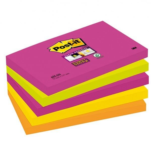 Blocco foglietti Post It Super Sticky - colore Cape Town - 76 x 127mm - 90 fogli - Post It