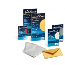 Busta Special Events metal - oro - 110 x 220mm - 120gr - Favini - conf. 10 buste