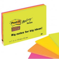 Blocco foglietti Post It Super Sticky Meeting Notes - rosa e verde neon - 152 x 101mm - 45 fogli - Post It