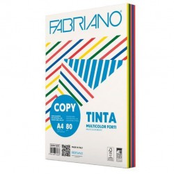 Carta Copy Tinta Multicolor - A4 - 80 gr - mix 5 colori forti - Fabriano - conf. 250 fogli