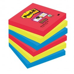 Blocco foglietti Post It Super Sticky - colore Bora Bora - 76 x 76 mm - 90 fogli - Post It