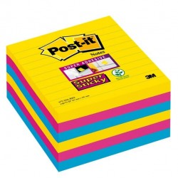 Blocco foglietti Post It Super Sticky - a righe - colori Rio - 101 x 101mm - 90 fogli - Post It