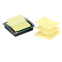 Dispenser Post It Super Sticky - giallo Canary - a righe - 101 x 101mm - 90 fogli - Post It