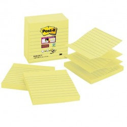 Ricarica foglietti Post It Super Sticky - giallo Canary - a righe - 101 x 101mm - 90 fogli - Post It