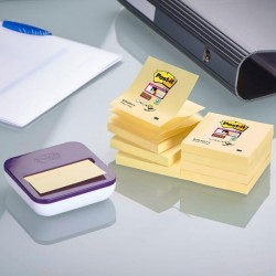 Dispenser + 8 ricarche Post It Super Sticky Z Notes giallo Canary - 76 x 76mm - Post It