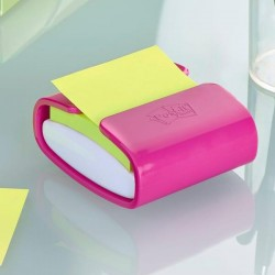 Dispenser Pro fucsia + 1 Post It Super Sticky Z Notes verde asparago - 76 x 76mm - Post It