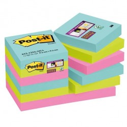 Blocco foglietti Post It Super Sticky - colore Miami - 47,6 x 47,6mm - 90 fogli - Post It