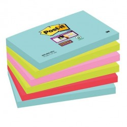 Blocco foglietti Post It Super Sticky - colore Miami - 76 x 127mm - 90 fogli - Post It