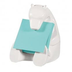 Dispenser orso bianco + ricarica Post It Super Sticky Z Notes azzurro - 76 x 76mm - 90 fogli - Post It